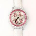 アンコキーヌ ネオ 40mm バイカラー ミニクロス シルバーベゼル インナーベゼルレッド ホワイトベルト アルバ 正規品(腕時計・グルグル時計)