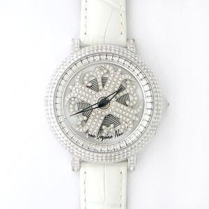 アンコキーヌネオ40mmバイカラーミニクロスシルバーベゼルインナーベゼルクリアーホワイトベルトイール正規品(腕時計・グルグル時計)