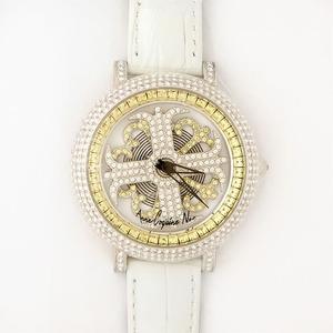 アンコキーヌネオ40mmバイカラーミニクロスシルバーベゼルインナーベゼルイエローホワイトベルトイール正規品(腕時計・グルグル時計)