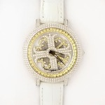 アンコキーヌ ネオ 40mm バイカラー ミニクロス シルバーベゼル インナーベゼルイエロー ホワイトベルト イール 正規品(腕時計・グルグル時計)