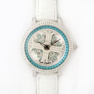 アンコキーヌネオ40mmバイカラーミニクロスシルバーベゼルインナーベゼルブルーホワイトベルトイール正規品(腕時計・グルグル時計)