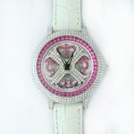アンコキーヌ ネオ 40mm バイカラー ミニクロス シルバーベゼル インナーベゼルレッド ホワイトベルト イール 正規品(腕時計・グルグル時計)