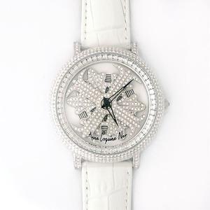 アンコキーヌネオ45mmバイカラーミニクロスシルバーベゼルインナーベゼルクリアーホワイトベルトアルバ正規品(腕時計・グルグル時計)