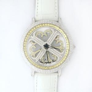 アンコキーヌネオ45mmバイカラーミニクロスシルバーベゼルインナーベゼルイエローホワイトベルトイール正規品(腕時計・グルグル時計)
