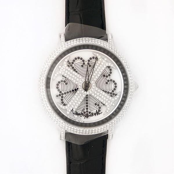 アンコキーヌ ネオ 45mm バイカラー ミニクロス シルバーベゼル インナーベゼルブラック ブラックベルト イール 正規品(腕時計・グルグル時計)f00