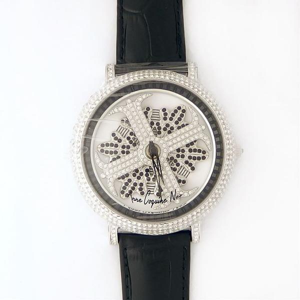 アンコキーヌ ネオ 45mm バイカラー ミニクロス シルバーベゼル インナーベゼルブラック ブラックベルト アルバ 正規品(腕時計・グルグル時計)f00