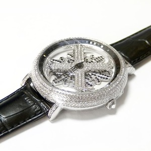 アンコキーヌ ネオ 45mm バイカラー ミニクロス シルバーベゼル インナーベゼルブラック ブラックベルト アルバ 正規品(腕時計・グルグル時計) h02