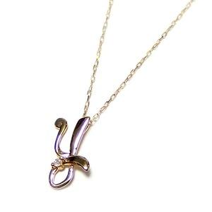 イニシャル ネックレス ダイヤモンド ネックレス 一粒 0.01ct K18 ゴールド 文字 Y ダイヤネックレス ペンダント