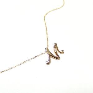 イニシャル ネックレス ダイヤモンド ネックレス 一粒 0.01ct K18 ゴールド 文字 M ダイヤネックレス ペンダント