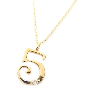 ナンバー ネックレス ダイヤモンド ネックレス 一粒 0.01ct K18 ゴールド 数字 5 ダイヤネックレス ペンダント