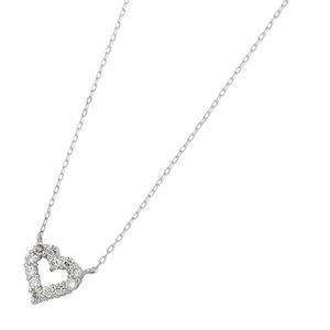 ダイヤモンドペンダントネックレス12粒0.2ctK18ホワイトゴールドハートモチーフ人気のハートダイヤ