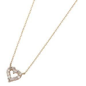 ダイヤモンドペンダントネックレス12粒0.2ctK18ピンクゴールドハートモチーフ人気のハートダイヤ