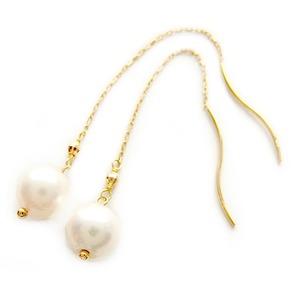 アコヤ真珠 パール ピアス K18 イエローゴールド アメリカンピアス 8mm 8ミリ珠 本真珠 真珠