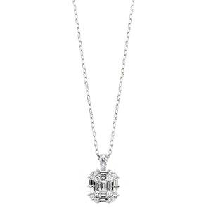 ダイヤモンド ネックレス プラチナ Pt900 0.3ct バケット ダイヤネックレス ペンダント