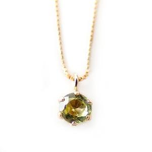 ネックレス ペリドット K18 イエローゴールド 8月 誕生石 一粒 シンプル プチネックレス ペンダント