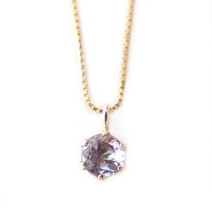 ネックレス タンザナイト K18 イエローゴールド 12月 誕生石 一粒 シンプル プチネックレス ペンダント