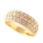 ダイヤモンド リング K18 イエローゴールド 1ct ハーフエタニティ パヴェ 1カラット 10号 ダイヤ 指輪