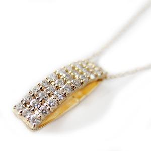 ダイヤモンド ネックレス K18 イエローゴールド 0.5ct ダイヤネックレス 0.5カラット 45cmスライド調整付きチェーン スクエアー ペンダント 限定1点限り