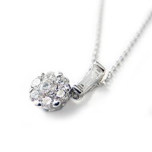 ダイヤモンド ネックレス K18 ホワイトゴールド 0.4ct 7ダイヤ コロネットセッティング Hカラー SIクラス バケットダイヤ 0.4カラット ペンダント 限定1点限り