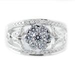 ダイヤモンド リング K18 ホワイトゴールド 0.7ct 7ダイヤ コロネットセッティング Hカラー SIクラス ダイヤリング 0.7カラット 12号 指輪 花 フラワー ゴージャス 限定1点限り