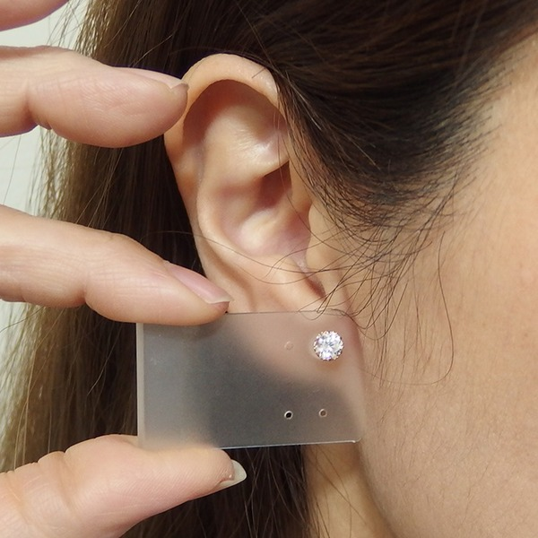 ピアス キュービックジルコニア K18 ピンクゴールド 0.9ctサイズ 高品質 シリコン製ダブルロックキャッチ仕様 一粒留