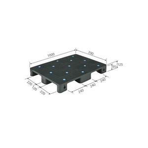 三甲(サンコー)プラスチックパレット/プラパレ【単面型】リサイクルS4-710ブラック(黒)