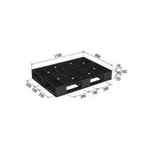 三甲(サンコー) プラスチックパレット/リサイクルパレット 【片面使用型】 D4-811-3 ブラック(黒)