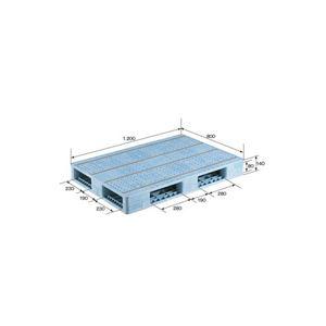 三甲(サンコー) プラスチックパレット/プラパレ 【両面使用型】 段積み可 R4-812F ライトブルー(青)