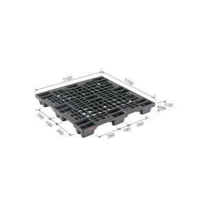 三甲(サンコー) プラスチックパレット/プラパレ 【スタッキング可】 SN4-1111 ピース付 ブラック(黒)