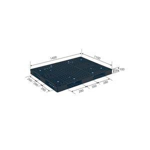 三甲(サンコー)プラスチックパレット/プラパレ【両面使用型】段積み可R4-1114-6ブラック(黒)