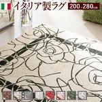 イタリア製ゴブラン織ラグ Camelia〔カメリア〕200×280cm ラグ ラグカーペット 長方形 2 :アイボリーレッド