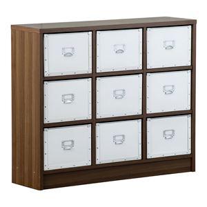 おしゃれな部屋作りに デザインチェスト Milano〔ミラノ〕 3x3 硬質パルプ ウォールナット ボックス ホワイト