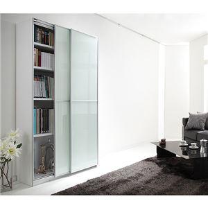 大型スライド式キャビネット・本棚【幅100cm】【壁面収納】 コンビ - 拡大画像
