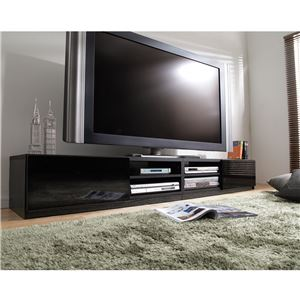 背面収納TVボード ロビン 幅210cm テレビ台 テレビボード ローボード ブラック(前板鏡面タイプ)