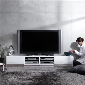大型ローボード/テレビ台 【幅210cm:46型〜57型対応】 前板鏡面 『ROBIN』 背面収納 隠れキャスター付き スリム ホワイト(白) - 拡大画像