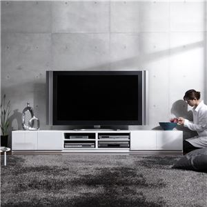 背面収納TVボード ロビン 幅240cm テレビ台 テレビボード ローボード ホワイト(前板鏡面タイプ)