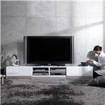 背面収納TVボード ロビン 幅240cm ローボード(テレビ台/テレビボード) ホワイト(前板鏡面タイプ)