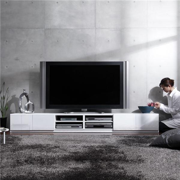 おしゃれでシンプルなテレビ台・テレビボード 背面収納TVボード ロビン 幅240cm テレビ台 テレビボード(前板鏡面タイプ)