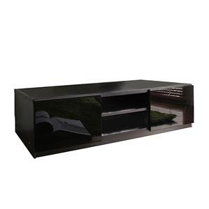背面収納ローボード/テレビ台 【幅120cm:37型〜52型対応】 前板鏡面 『ROBIN』 隠れキャスター付き スリム ブラック(黒)(前板鏡面タイプ)  の画像
