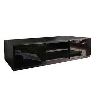 背面収納ローボード/テレビ台 【幅150cm】 前板鏡面 『ROBIN』 隠れキャスター付き スリム ブラック(黒) の画像
