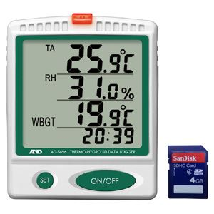 A&D(エーアンドデイ)電子計測機器温湿度SDデータレコーダー(記録計)/熱中症指数モニターAD-5696