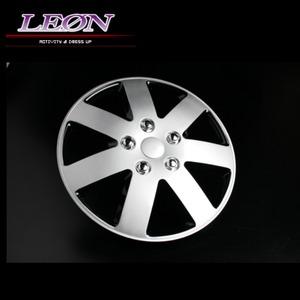 [LEON]14インチホイールカバー 4枚 汎用品 (シルバー&ブラック)