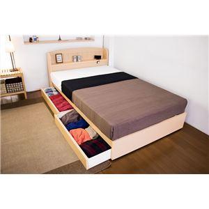 棚 コンセント 引き出し付きカントリー調ベッド シングル 二つ折りポケットコイルスプリングマットレス付 【ナチュラル】