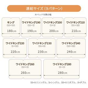 日本製 連結ベッド 照明付き フロアベッド  ワイドキングサイズ210cm(SS+SD) (SGマーク国産ボンネルコイルマットレス付き) 『NOIE』ノイエ ホワイト 白