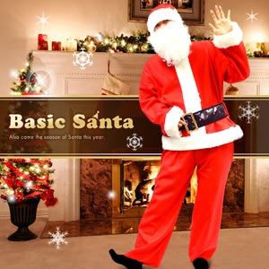【クリスマスコスプレ 衣装】Peach×Peach メンズ ベーシックサンタクロース サンタコスプレ男性用 7点セット