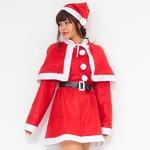 【クリスマスコスプレ 衣装】P×P レディースサンタクロース サンタコスプレ女性用 ワンピース&肩がけの画像
