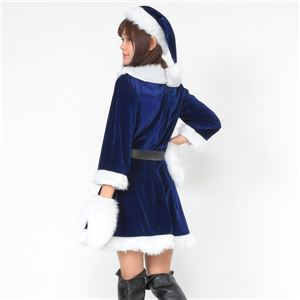 サンタ コスプレ 青 ブルー レディース <帽子&ベルト&手袋セット> まとめ買い 【Peach×Peach  ラブリーサンタクロース ブルー(青) ワンピース Mサイズ (×3着セット) 】 クリスマスコスプレ サンタクロース衣装