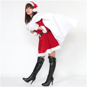 サンタ コスプレ 赤 レッド レディース <帽子&ベルト&手袋セット> まとめ買い 【Peach×Peach  ラブリーサンタクロース レッド(赤) ワンピース (×5着セット) 】 クリスマスコスプレ サンタクロース衣装