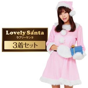 サンタ コスプレ ピンク レディース <帽子&ベルト&手袋セット> まとめ買い 【Peach×Peach  ラブリーサンタクロース ピンク ワンピース (×3着セット) 】 クリスマスコスプレ サンタクロース衣装 - 拡大画像