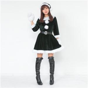 サンタ コスプレ 緑 グリーン レディース <帽子&ベルト&手袋セット> まとめ買い 【Peach×Peach ラブリーサンタクロース ダークグリーン(緑) ワンピース (×3着セット) 】 クリスマスコスプレ サンタクロース衣装